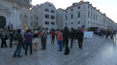 Many tourists in front of Church of Saint Blaise in Dubrovnik Stock Footage