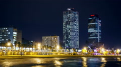 Timelapse of beautiful Port Olimpic in Barcelona, Spain at night. Stock Footage