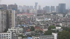 Residential housing and apartment buildings under construction in Wuhan, China - stock footage