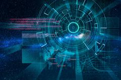 cyber laser target on milky way background - stock illustration