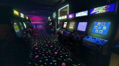 Vintage video games arcade Stock Footage