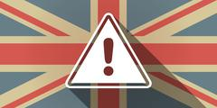 Long shadow UK flag icon with a warning signal - stock illustration