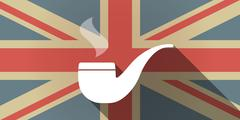 Stock Illustration of Long shadow UK flag icon with a smoking pipe