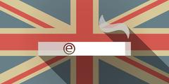 Long shadow UK flag icon with an electronic cigarette - stock illustration