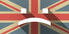 Long shadow UK flag icon with a sad text face Stock Illustration