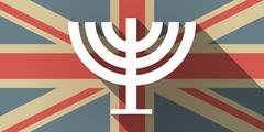 Stock Illustration of Long shadow UK flag icon with a chandelier