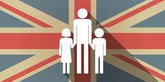 Long shadow UK flag icon with a male single parent family pictogram - stock illustration
