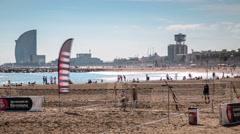 Timelapse of beautiful beach in Barcelona, Spain Stock Footage
