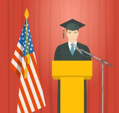 Graduation ceremony speech by a man graduate at the podium - stock illustration