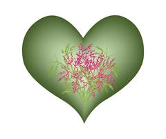 Gree Heart Shape With A Pink Flower - stock illustration
