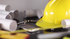 contractor theme, blueprints, plans, hard hat, tools - stock footage