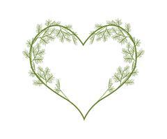 Lovely Green Vine Leaves in Heart Shape - stock illustration