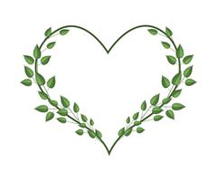 Fresh Green Vine Leaves in A Heart Shape Stock Illustration