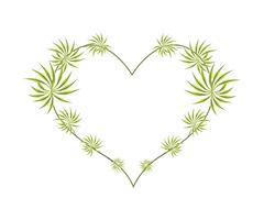Fresh Dracaena Leaves in A Heart Shape - stock illustration