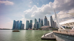 Sunny sky esplanade theatres bay downtown panorama 4k time lapse singapore Stock Footage