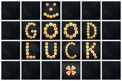 Collage of the uppercase letter - words GOOD LUCK . Alphabet childish colorfu - stock photo