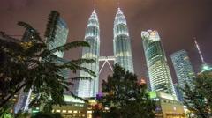 night park petronas twin towers suria mall panorama 4k time lapse malaisia - stock footage
