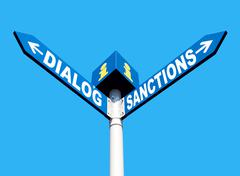 Dialog-Sanctions road sign - stock photo