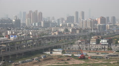 Skyline of Wuhan as seen from the suburbs of the city Stock Footage
