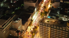 night bangkok city hotel roof top traffic street panorama 4k time lapse thailand - stock footage