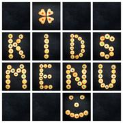 Collage of the uppercase letter - words KIDS MENU . Alphabet childish colorfu - stock photo