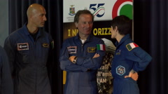 Italian astronauts chatting before conference Stock Footage