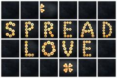 Collage of the uppercase letter - words SPREAD LOVE . Alphabet childish color - stock photo