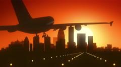 Stock Video Footage of Louisville Kentucky USA America Skyline Sunrise Landing