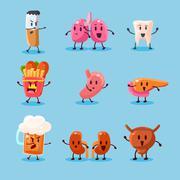 Bad Habits Danger. Vector Illustration Set - stock illustration