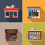 Stores and Shop Facades. Cute Vector Illustration Set - stock illustration
