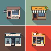 Stores and Shop Facades. Colourful Vector Illustration Set Stock Illustration