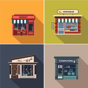 Stores and Shop Facades. Flat Vector Illustration Set - stock illustration