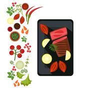 Medium Steak on Plate. Vector Illustration - stock illustration