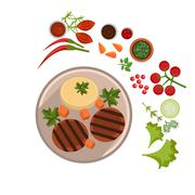 Appetizing Steak on Plate. Vector Illustration - stock illustration