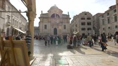 Tourists in Loggia square, Dubrovnik Stock Footage