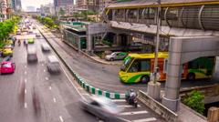 Sunny day high traffic street bridge view 4k time lapse bangkok thailand Stock Footage