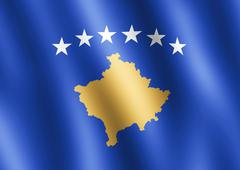 Flag of Kosovo waving in the wind - stock illustration