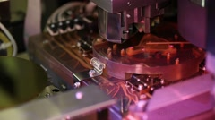 Microelectronic testing equipment in work in the science laboratory Stock Footage
