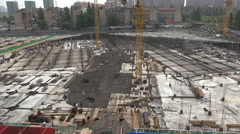 Stock Video Footage of Overview of a large construction site with many people at work, in Wuhan, China