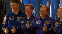 Italian astronauts take a picture before a conference Stock Footage