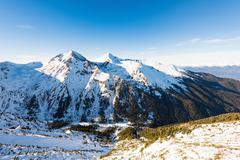 snow-capped mountains - stock photo