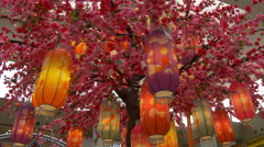 chinese new year decoration sakura tree lighters marina square mall singapore - stock footage