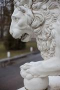 Cast iron lion at the Yelagin Palace, St. Petersburg, Russia - stock photo