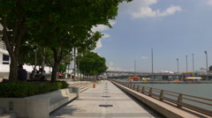 Famous marina square bay walking panorama singapore Stock Footage