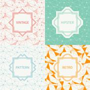 Set of geometric line hipster seamless pattern with triangle, circles Stock Illustration