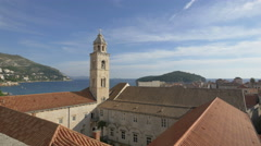 Dominican Church Tower seen from the City Walls in Dubrovnik Stock Footage