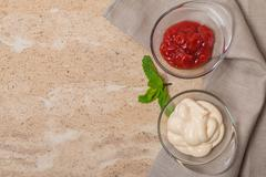 Ketchup and mayonnaise Stock Photos