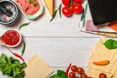 Ingredients for cooking Italian lasagna Stock Photos