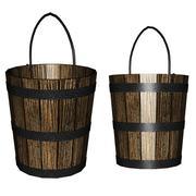 3d wooden bucket - stock illustration