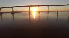 4k San Diego Coronado Bridge Sun Rise 001 Stock Footage